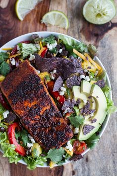 Chile Lime Salmon Fajita Salad with Cilantro Lime Vinaigrette is our current lunch craving