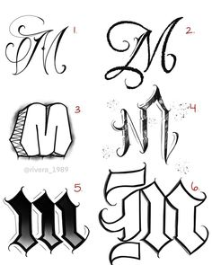 "The Letter ""M"" written in 6 different ways. Which one is your favorite?✍🏽🤔 #practice #M #customlettering #chicanolettering #streetlettering… Graffiti Alphabet Styles, Graffiti Lettering Alphabet, Tattoo Fonts Alphabet, Chicano Tattoos Lettering, Tattoo Lettering Design, Hand Lettering Styles, Tattoo Outline Drawing, Tattoo Design Drawings, Alfabeto Tattoo"