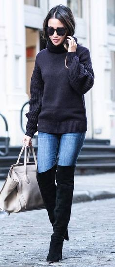 fall+trends+/+sweater+++bag+++over+the+knee+boots+++jeans