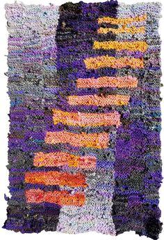Purple and Orange Climbing Bars hand knit rug, 48 X 72