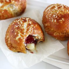 pretzel pies, filled with jam & cheese. could also use pizza fillings for a savory pie.