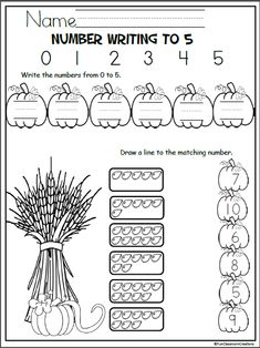 Free pumpkin math worksheet for October and fall. Kindergarten and preschool students practice counting, writing, and matching the numbers from 0 to 5 Kindergarten Stem, Free Kindergarten Worksheets, Preschool Writing, Fall Preschool, Preschool Education, School Worksheets, Phonics Activities, Preschool Printables, Number Worksheets