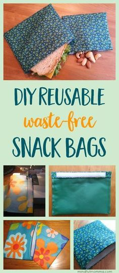 Learn how to make reusable DIY snack & sandwich bags for waste-free lunches and on-the-go snacking - with this easy sewing tutorial. | #zerowaste #snackbag #sewing #craft #DIY via @mindfulmomma