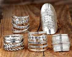 Sterling Silver Boho Long Statement Ring, Large Solar Star Mandala Tribal Handmade Ring, Adjustable Gypsy Hippie Sun Ring, Gift for Her Bijou Geek, Black Rings, Silver Rings, Full Finger Rings, Leather Ring, Chunky Rings, Thumb Rings, Engraved Rings, Boho Jewelry