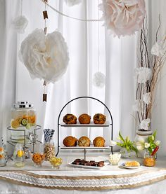 Love this Baby Shower! A White baby shower...so pretty. Cute ideas for food and activities as well.