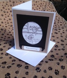 Music Anniversary Card Mouse House Stamped by DawnsBlanchCards