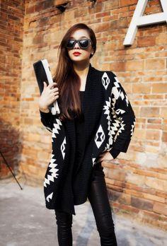 pas cher, Achetez directement de China Suppliers: Nouvelle mode des femmes 2014 vintage. cardigan. style européen motif géométrique surdimensionné tricotchandail hauts livraison gratuite taille: free taille unique tous, 65cm longueur, buste. 16