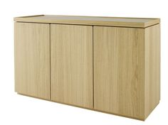 ESTAMPE is essentially a representation of daily life, showcased by the softness of the design. The principle of the top itself, on the top of each piece, which seems to float in a solid frame, bring a certain movement, a vibration to the overall piece. Combining elegance, sobriety and finishing details. Fronts and sides in sawn oak. Upper fixed top covered in linoleum. 3 Door Sideboard. H79 W135.9 D47 CM Natural,Argile stained or Anthracite stained Oak.