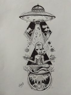 Alien Drawings, Trippy Drawings, Space Drawings, Tattoo Design Drawings, Pencil Art Drawings, Tattoo Sketches, Art Sketches, Old School Tattoo Designs, Tattoo Designs Men