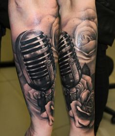Lower Arm Microphone with Roses Tattoo by Riccardo Cassese