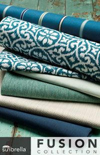 Breezy, balmy, blue, teal, sage, seamist, capri, cream, sand and more. Picture your favorite spot on the beach and then imagine it in fabric in your own backyard.  Gorgeous Breeze Collection from Sunbrella Fusion.