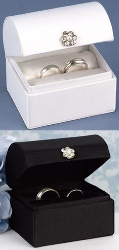 Treasure Chest Ring Box (Black or White) from Wedding Favors Unlimited