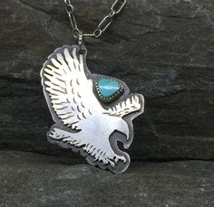 Landing Eagle Pendant, Flying Bird Necklace, Two-sided, Sterling Silver, Old Stock American Turquoise, Fish Necklace, Gift for Birdwatcher