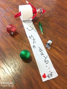 Daily Elf on the Shelf Ideas all November and December long. Count down the days until Santa Comes with this Toilet Paper Countdown.