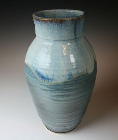 Blue Ceramic Vase with Throwing Rings by GibsonPottery on Etsy, $45.00