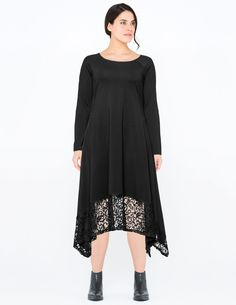 Lace-trimmed jersey dress by Isolde Roth.