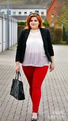 Plus Size Lace-Yoke Peplum Blouse  Plus size fashion  Pinterest ...