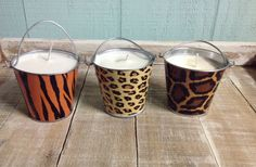 Animal Print Pail Cinnamon Scented Soy Candles by MaidenLongIsland