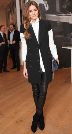Olivia Palermo at the Notes on Creativity opening with Dom Pérignon. olivia palermo in a vest. women's fashion and style. Estilo Olivia Palermo, Olivia Palermo Outfit, Olivia Palermo Style, Style Work, Mode Style, Fashion Night, Work Fashion, Style Fashion, Black And White Outfit