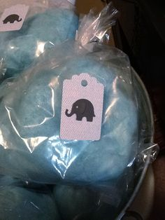 Cotton candy favors for elephant themed baby shower