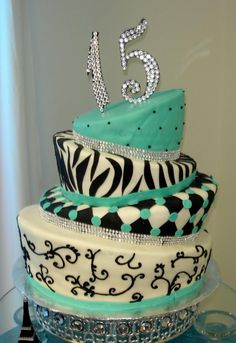 Turquoise and Black Cakes | Topsy Turvy Turquoise and Black Cake Little Mermaid Cake