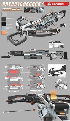 """icu ~ Pin on Cyberpunk weapons ~ Weapon design for mobile game """"Break Out"""". BTW thanks for the help form master Lou Sci Fi Weapons, Armor Concept, Weapon Concept Art, Fantasy Weapons, Weapons Guns, Guns And Ammo, Diy Crossbow, Crossbow Hunting, Crossbow Arrows"""