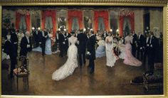 """""""A Ball"""", c.1878, artist Jean Beraud.  Ladies and gentlemen gathered at a fancy dress ball. The women are wearing gowns created by British born designer, Charles Frederick Worth, purchased from his Parisian Salon. ~ American Gilded Age society ladies would also travel to Paris and purchase their fancy dress gowns from, the House of Worth salon. ~ {cwlyons} ~ Image: (The New York Society Diary)"""
