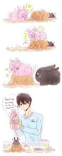 Harubun is of course jealous when someone else cuddles with Makobun.  Luckily Haru has his back ...   Drawn by racyue ... Free! - Iwatobi Swim Club, free!, iwatobi, makobun, bunny, rabbit, harubun, haruka nanase, haru nanase, haru, nanase, haruka, makoto, tachibana, makoto tachibana, kisumi, kisumi shigino, shigino, kisubun