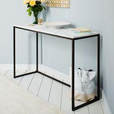 Box Frame Console - Marble.  Antique bronze steel frame.  122W x 41D x 75.5H.  $699  West Elm
