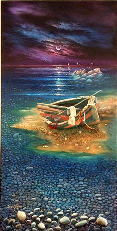 Sinanidis Giorgos  Original Oil Painting Parthenon, Canoes, Small Boats, Conceptual Art, Painters, Printmaking, Greece, Sculpture, Fine Art