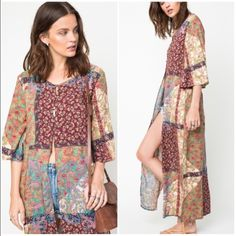 """Printed Kimono Maxi Duster Printed Maxi Kimono Duster --- Relaxed fit --- If you are between sizes, size down --- 55"""" length, 20.5"""" bust (size medium) --- Rayon --- Wine / neutral print --- Five functional fabric covered buttons close the bodice, extra button included --- Pattern placement varies --- Great quality --- Thank you for  visiting my boutique, please feel free to ask any questions --- Bundle for discount ---  Boutique Tops"""