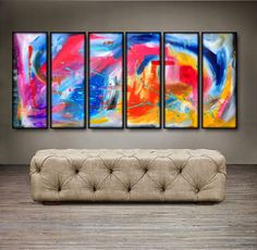 Bridges to happiness-60x30 Original Abstract by Genistudio on Etsy