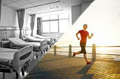 An image with two sides, one with a black and white hospital ward, the other a woman running on a sunny boardwalk.