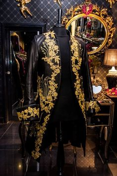 Mens new 18th Century inspired black & gold leather french frock coat by Impero in Clothes, Shoes & Accessories | eBay