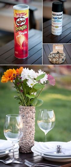 Pringle can turned VASE ! Super cute stone vase.