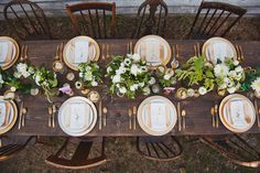gold and bare wood tablescape //  Event Design: by Alisa Lewis Event Design, photo by Urban Rose