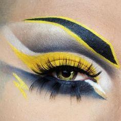 A Mehron Boy & his Eye Art! paradise paint in Yellow. Creative Eye Makeup, Eye Makeup Art, Eye Art, Kat Von D, Pokemon Makeup, Mehron Makeup, Crazy Eyes, Dramatic Makeup, Halloween Makeup