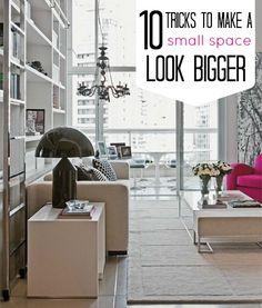 10 tricks to make a small space look bigger! #diy #livingroom #bedroom #diningroom #apartment