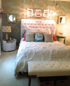 DIY. Bedroom Makeover style, back feature wall design, colour contrast. Beautiful bedding. Scatter cushions.