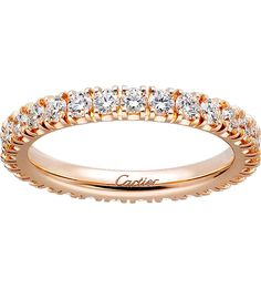 CARTIER - Lignes 18ct pink-gold and diamond wedding band | Selfridges.com