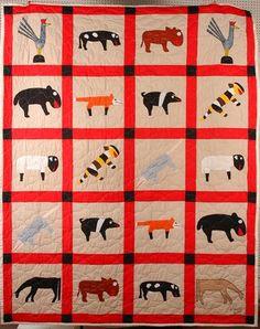 "Minnie Adkins. Animal Quilt, 2003, 69"" x 84"", Slotin Folk Art, Live Auctioneers"