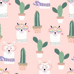 Pink Hand Drawn Cute Seamless Pattern With Llama, Heart Glasses, Cactus In Summer Bebe Vector, Vector Free, Vector Graphics, Graphics Vintage, Alpacas, Paper Cactus, Cute Llama, Background Patterns, Vector Background