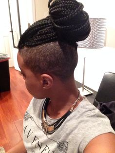 Shaved sides with box braids