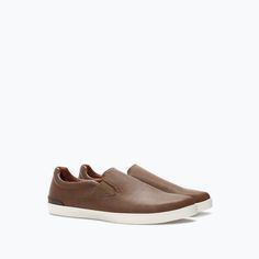 Slip-on shoes in brown leather | Zara Not usually attracted to brown shoes, I wonder why I like these