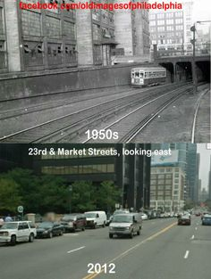 Before & After: 23rd & Market Streets, looking east. 1950s & 2012, A westbound trolley can be seen leaving the western portal for the original Market Street Subway Elevated in the top photo and of course, it's probably still some trackage or tunnels underground near the area of the PECO (philadelphia electric company) building. By Carl Manley