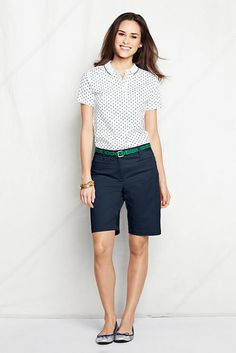 What to wear with Navy Bermuda shorts. Polka dot top. I would wear a different color of belt, though.