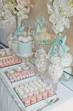 New Baby Boy Baptism Decorations Christening Dessert Tables 47 Ideas Christening Party, Baptism Party, Baby Party, Tea Party, Baptism Ideas, Christening Themes, Deco Baby Shower, Girl Shower, Baby Shower Themes