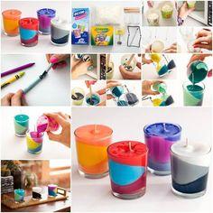 Para hacer estos vasitos con velas de colores necesitaremos cera, colores de cera o crayolas, unos vasos pequeños y mecha. Empezamos por derretir la cera en cantidades pequeñas y le añadimos trozos de colores de cera para darle color. Primero pegamos la mecha al fondo del vaso. Ponemos el vasito sobre un soporte o lo ... ver más >>>