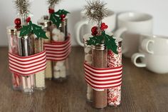 for the holidays....a mug set w/hot chocolate mix, tubes of hot chocolate toppers, holiday cookies/candies in a basket