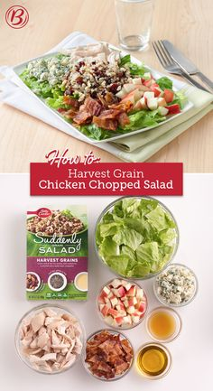 Chopped salad with a whole-grain twist! Start with a box of Suddenly Salad Harvest Grains, then add some flavorful fixings for a delicious dinner (or work lunch!) that's ready in 20 minutes.
